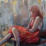 Vrouw in rood, acrylverf op doek.