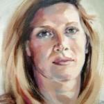 Portretten in opdracht. Acrylverf op doek. Detail.